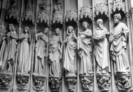 náboženství, sochařství, umění, zeď, interiér, design, monochromatický, socha