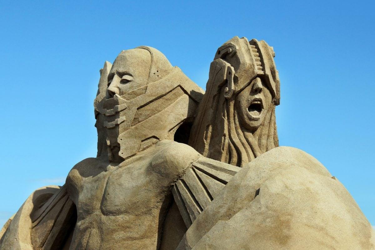 umění, památník, starověký, sochařství, kámen, mramor, socha, modrá obloha