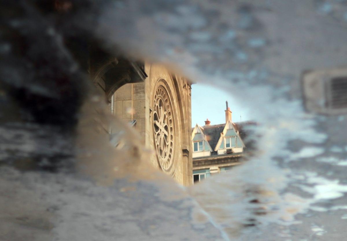 voda, odraz, déšť, městský, detail, denní světlo, asfalt