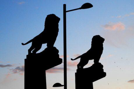 a contraluz, arte, silueta, sombra, escultura, León, cielo azul, al aire libre