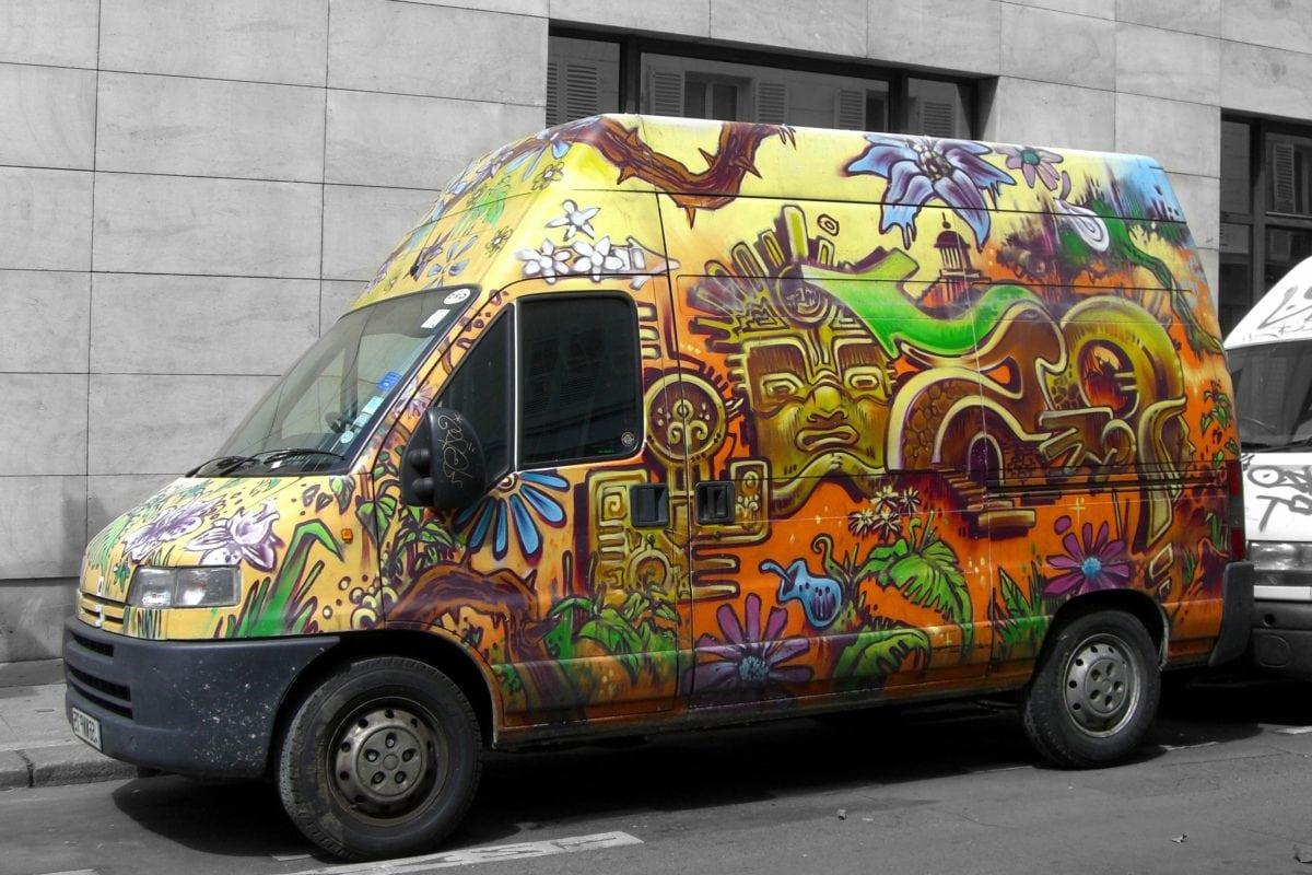 vehículo, coche colorido, asfalto, calle, coche Camper, transporte