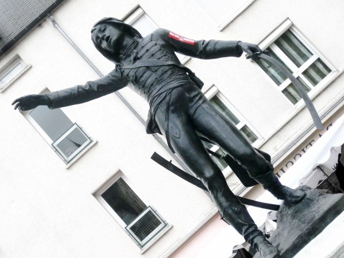 udendørs, person, bronze, metal, skulptur, kunst