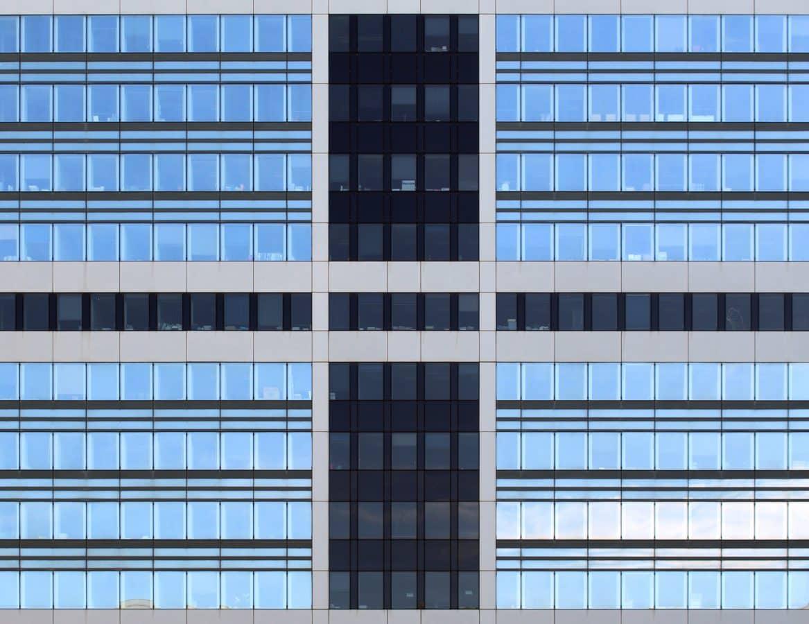 modrá fasáda, současná, okna, architektura, Futuristická architektura, moderní