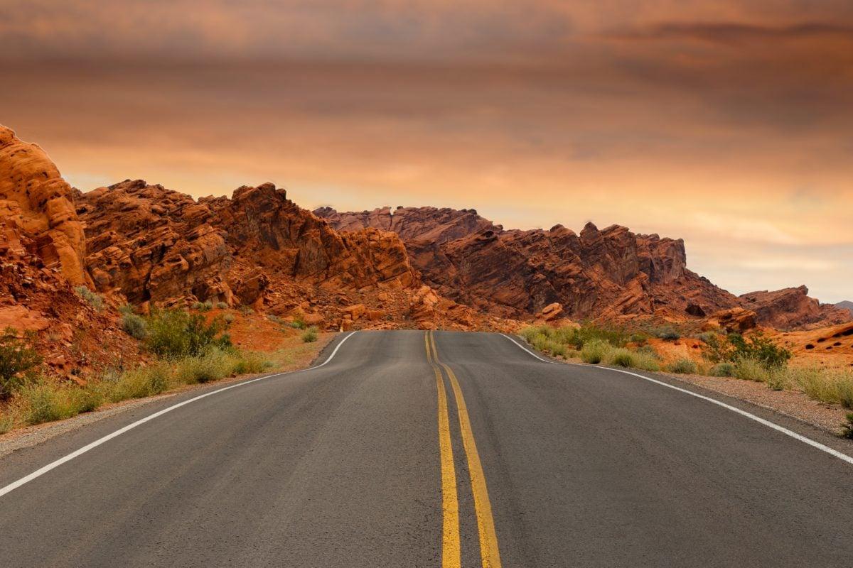 estrada do deserto, estrada, asfalto, paisagem, curso, céu, via expressa