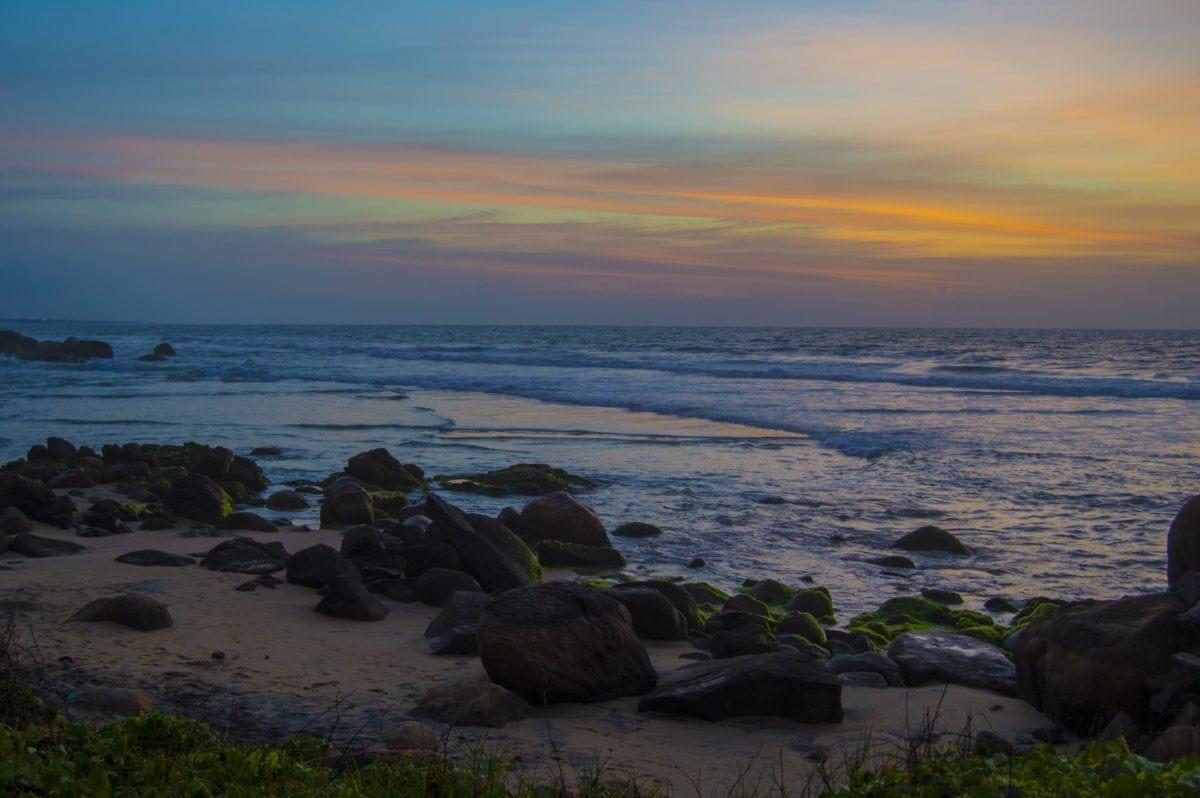 Ocean, kyst, landskab, hav, vand, daggry, strand, solnedgang, skumring