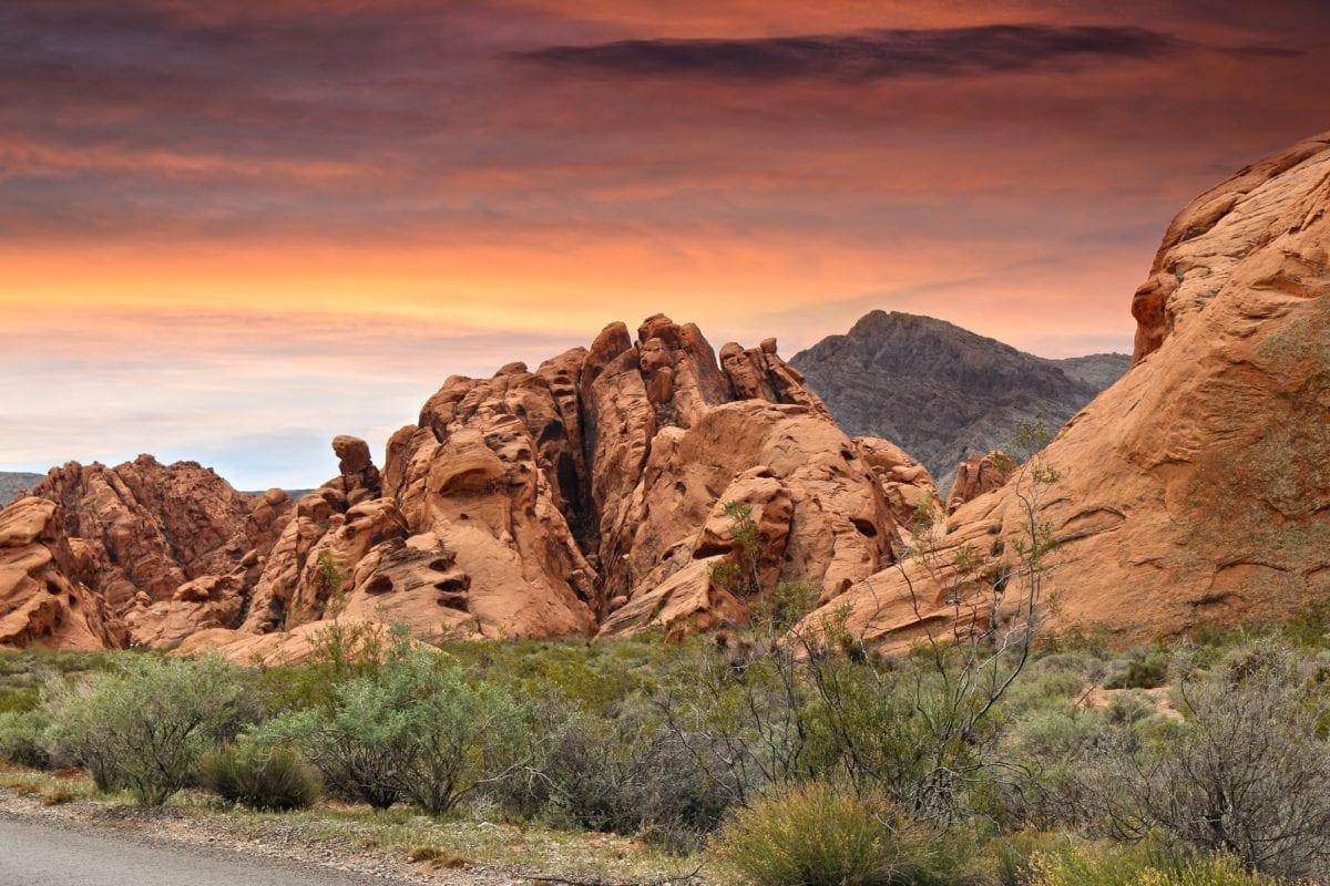Захід сонця, природа, пустеля, червоне небо, Пісковик, краєвид, Скеля, Національний парк