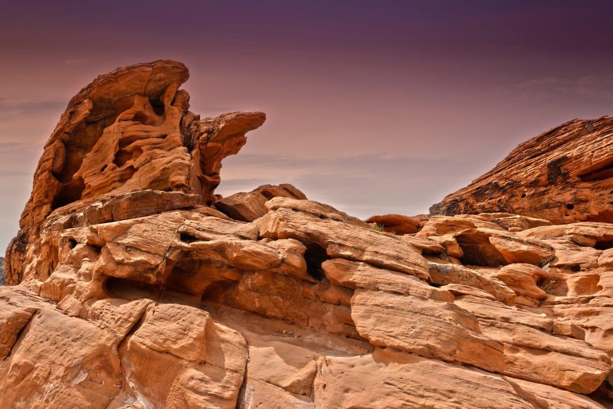 砂岩、沙漠、风景、天空、峡谷、山谷、石头