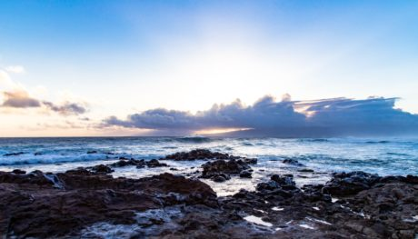 ocean, water, island, seashore, blue sky, landscape, beach, sea, sunset