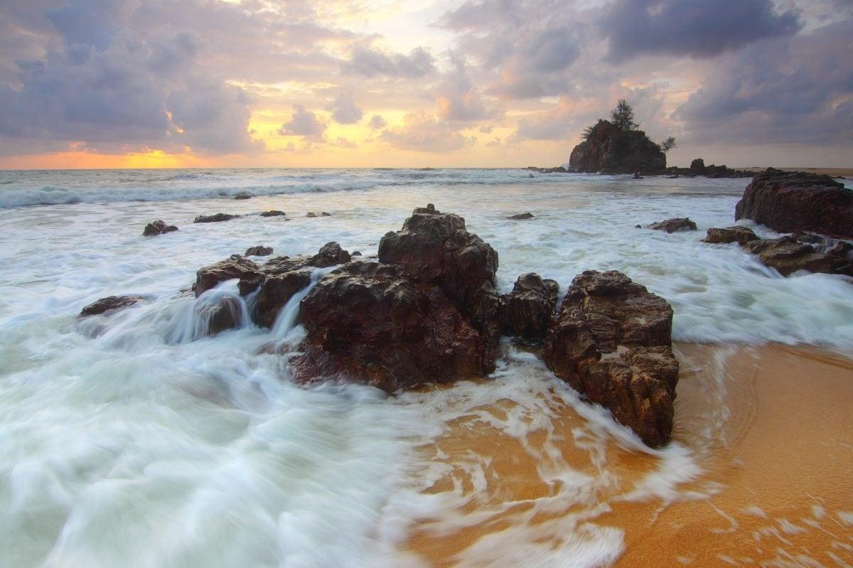 ocean, sunset, island, water, sea, seascape, seashore, beach, coast