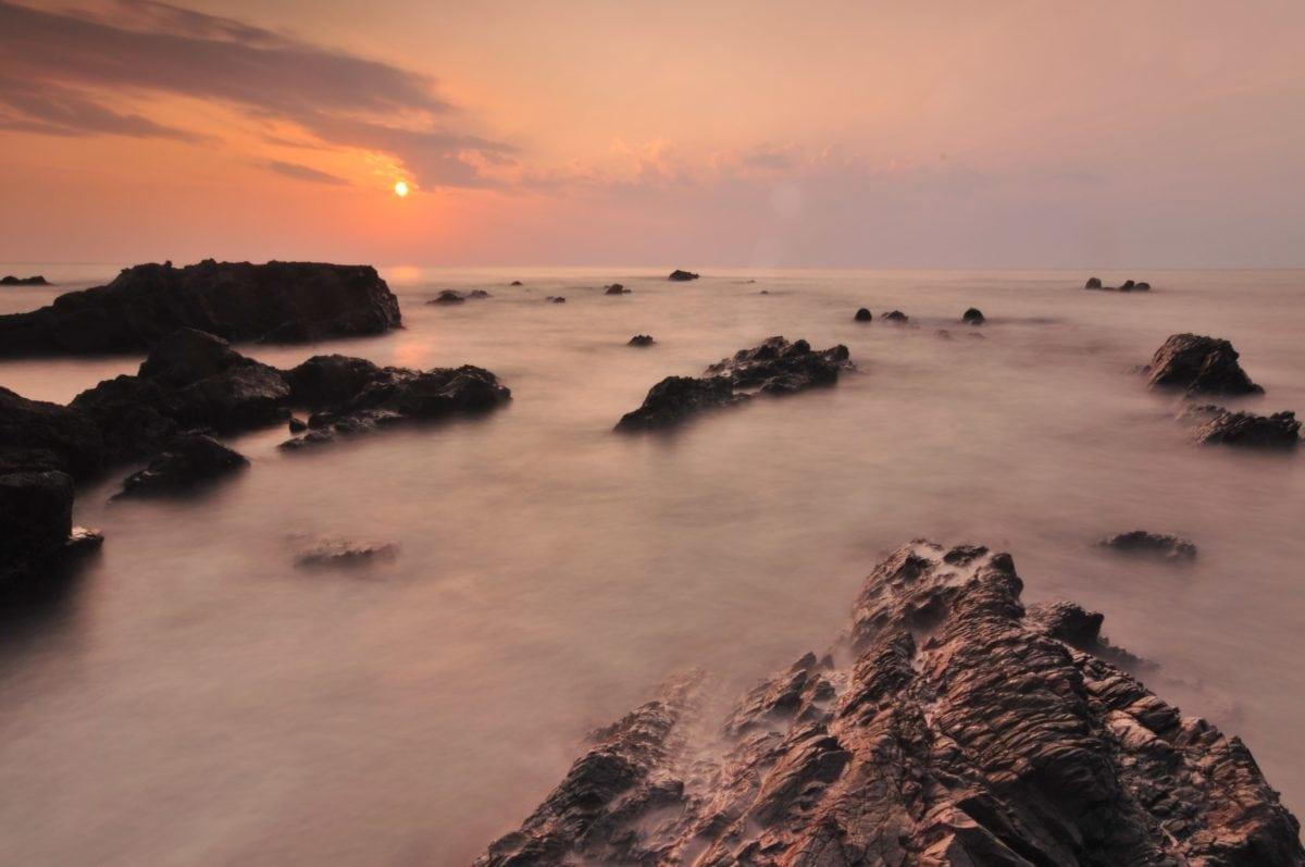 rivage, coucher de soleil, marée, eau, plage, île, océan, paysage marin, aube, mer