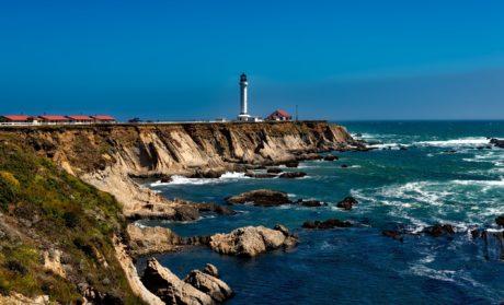 voda, morska obala, more, plaža, svjetionik, plavo nebo, Landmark, Laguna, pejzaž, ocean