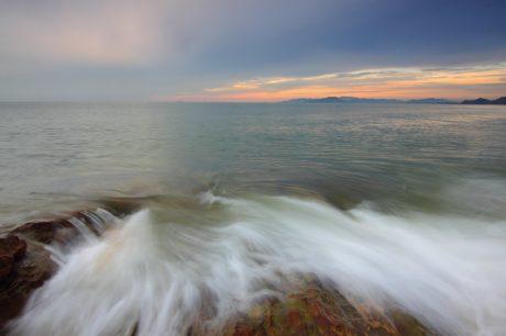 dagály, hullám, naplemente, természet, táj, víz, óceán, tenger, tengerpart, ég