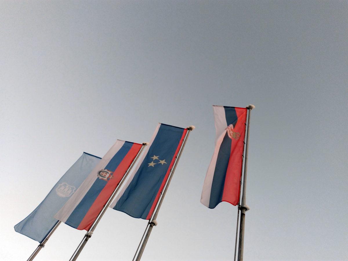 Европа, Европейската, флаг, мачта, Сърбия, съюз, емблема, пръчка