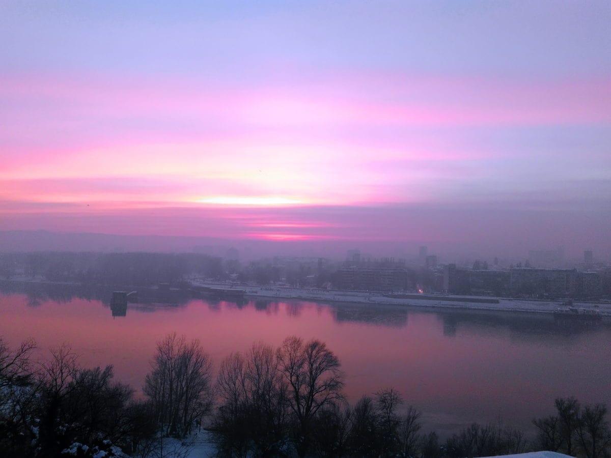 Dawn, západ slunce, voda, jezera, pobřeží, krajina, slunce, mrak