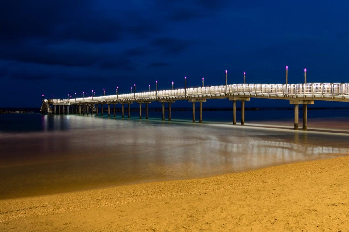 γέφυρα, διανυκτέρευση, τη διάρκεια της νύχτας, προβλήτα, νερό, Κόλπος, σύννεφο, σύννεφα