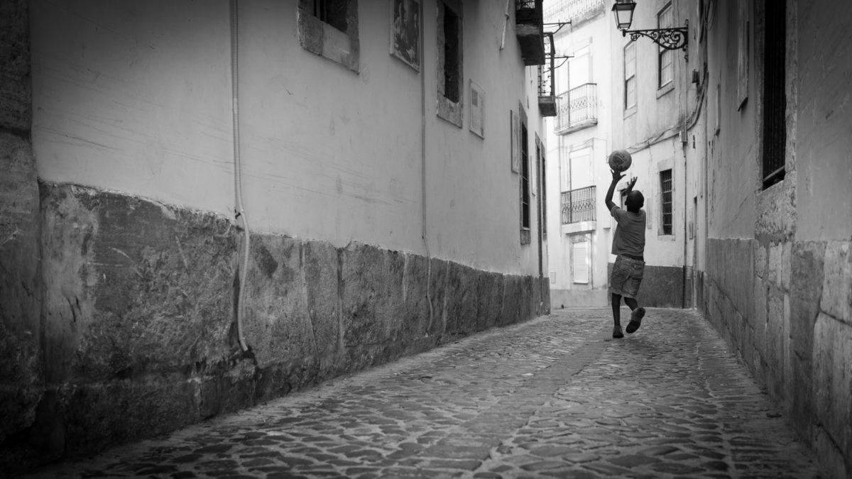child, childhood, children, monochrome, urban area, people, sidewalk, street
