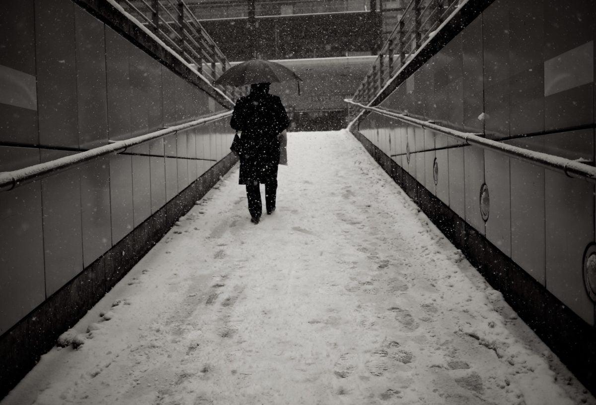 hó, hópehely, hóvihar, havas, város, emberek, szerkezete, fekete-fehér