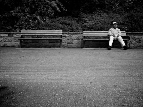 bench, grandfather, senior, furniture, people, monochrome, street, man