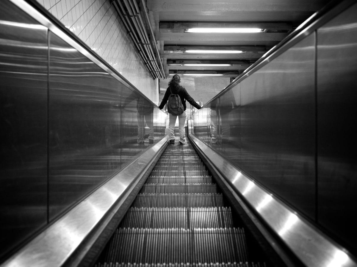 elevator, metropolis, metropolitan, monochrome, underground, escalator, airport, city