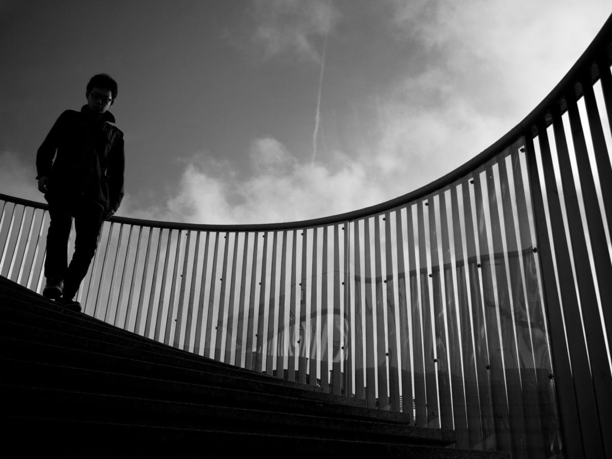 monochrome, staircase, stairway, people, structure, city, girl, silhouette