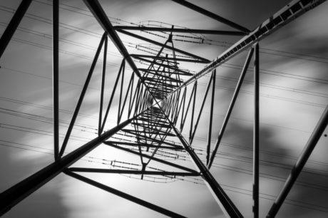 stål, struktur, kabel, monokrom, skyen, høy, elektrisitet, energi