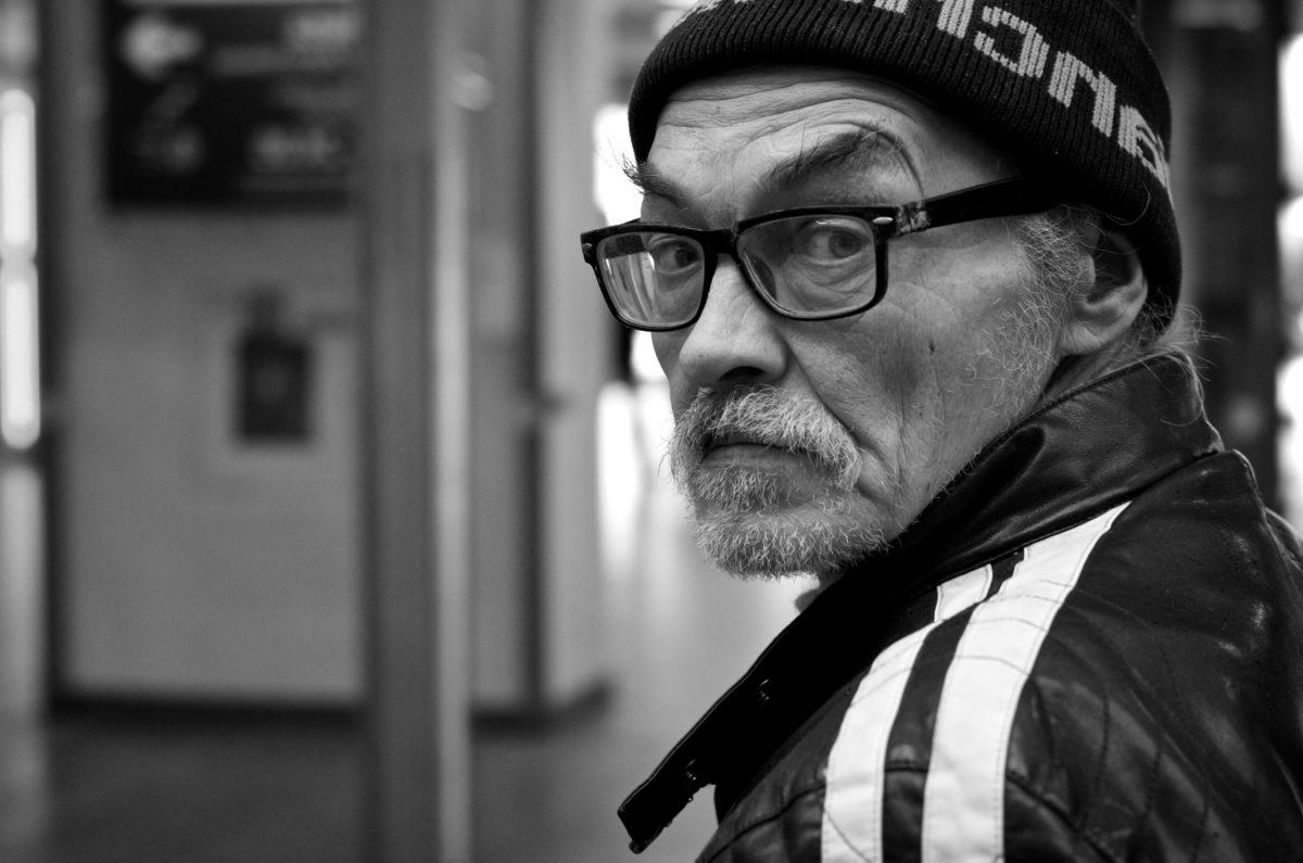 barba, lentes, vertical, hombre, persona, monocromo, personas, calle