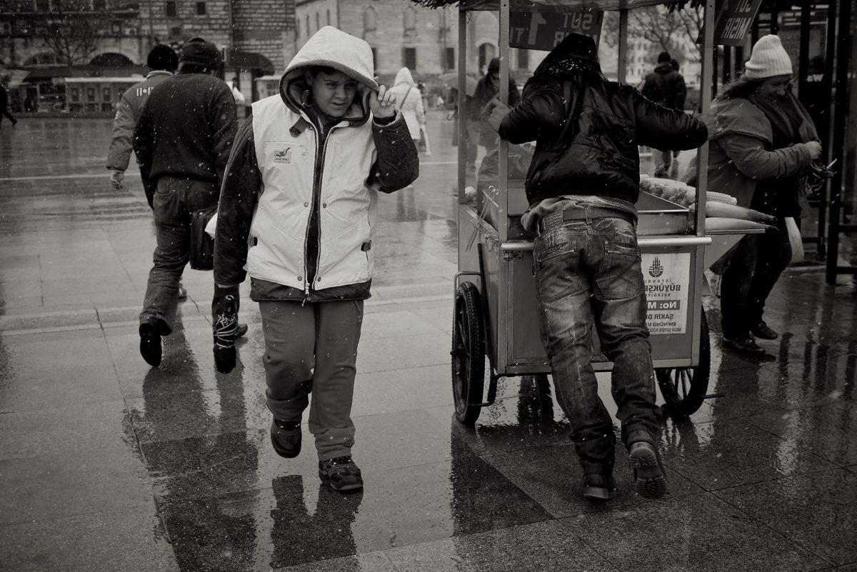 crowd, rain, street, people, armor, covering, shield, child
