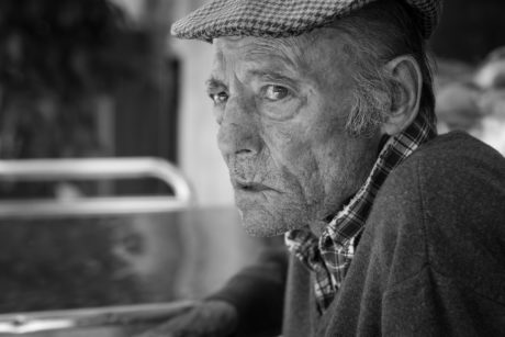 black and white, grandfather, people, hat, man, portrait, elderly, monochrome