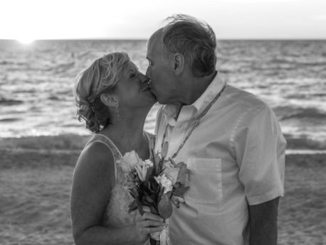 beach, bride, grandfather, grandmother, groom, kiss, love, sea