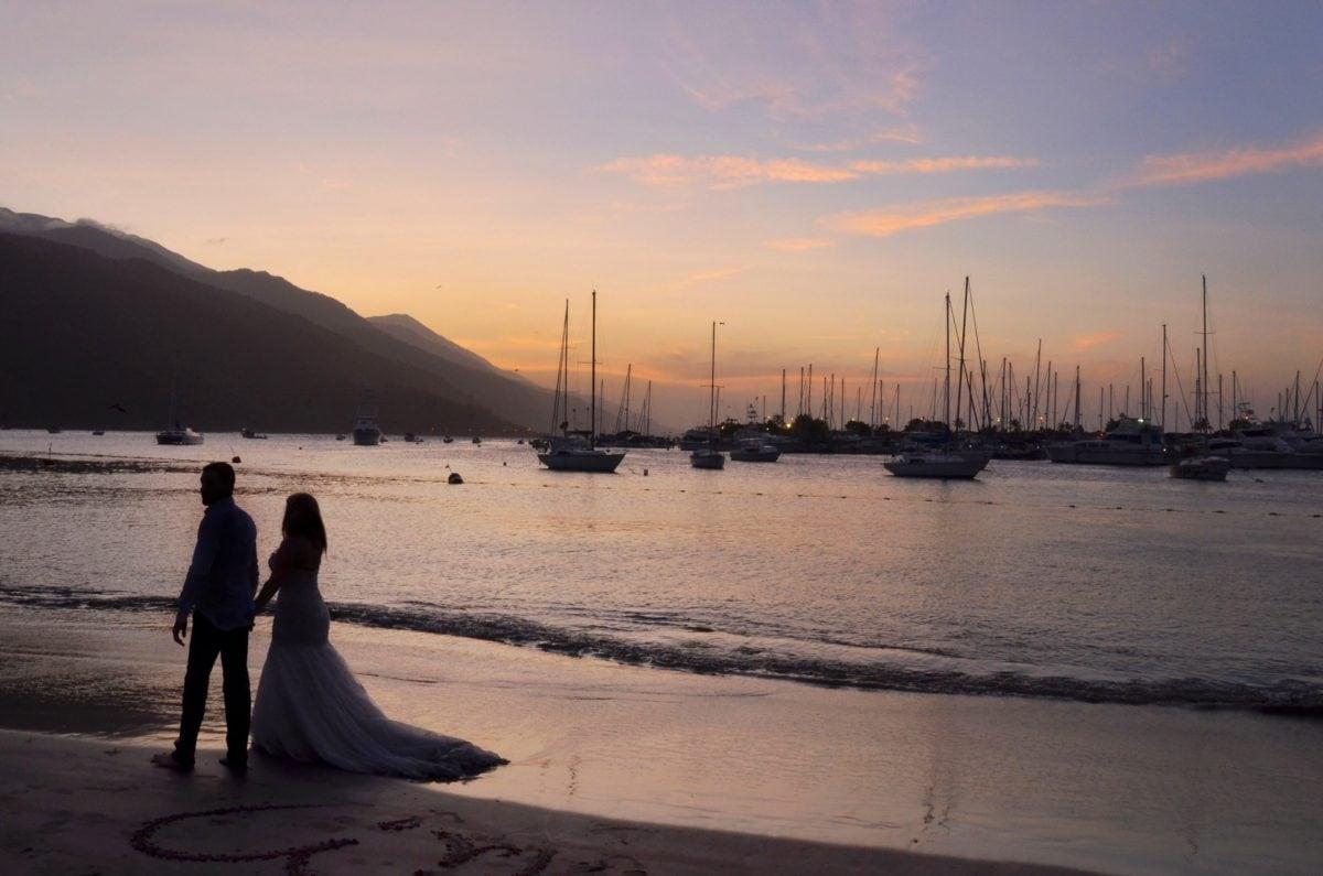 plage, la mariée, jeune marié, coucher de soleil, aube, océan, eau, mer