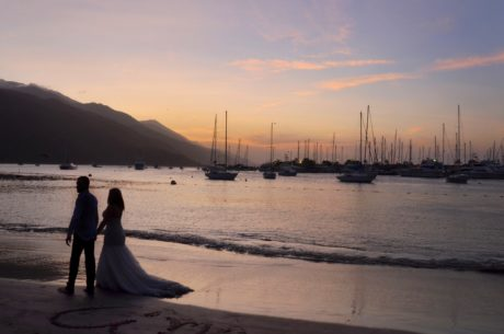beach, bride, groom, sunset, dawn, ocean, water, sea