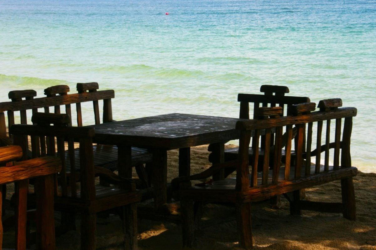 Стілець, стільці, Меблі, океан, Таблиця, море, води, пляж