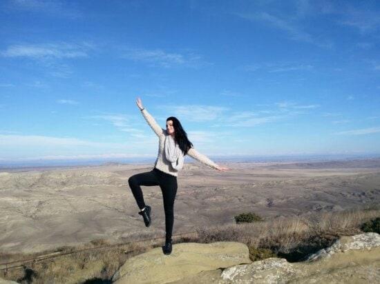 balance, blue sky, cliff, mountain, mountain climber, pretty girl, sky, woman