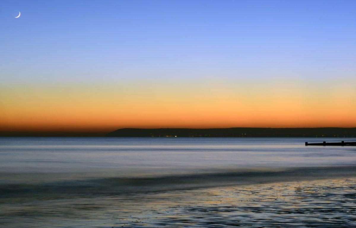 solen, vatten, solnedgång, havet, molnet, stranden, kusten, sand