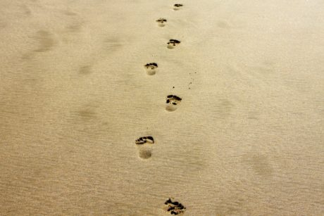 footpath, footprint, footprints, footstep, sand, desert, beach, seashore