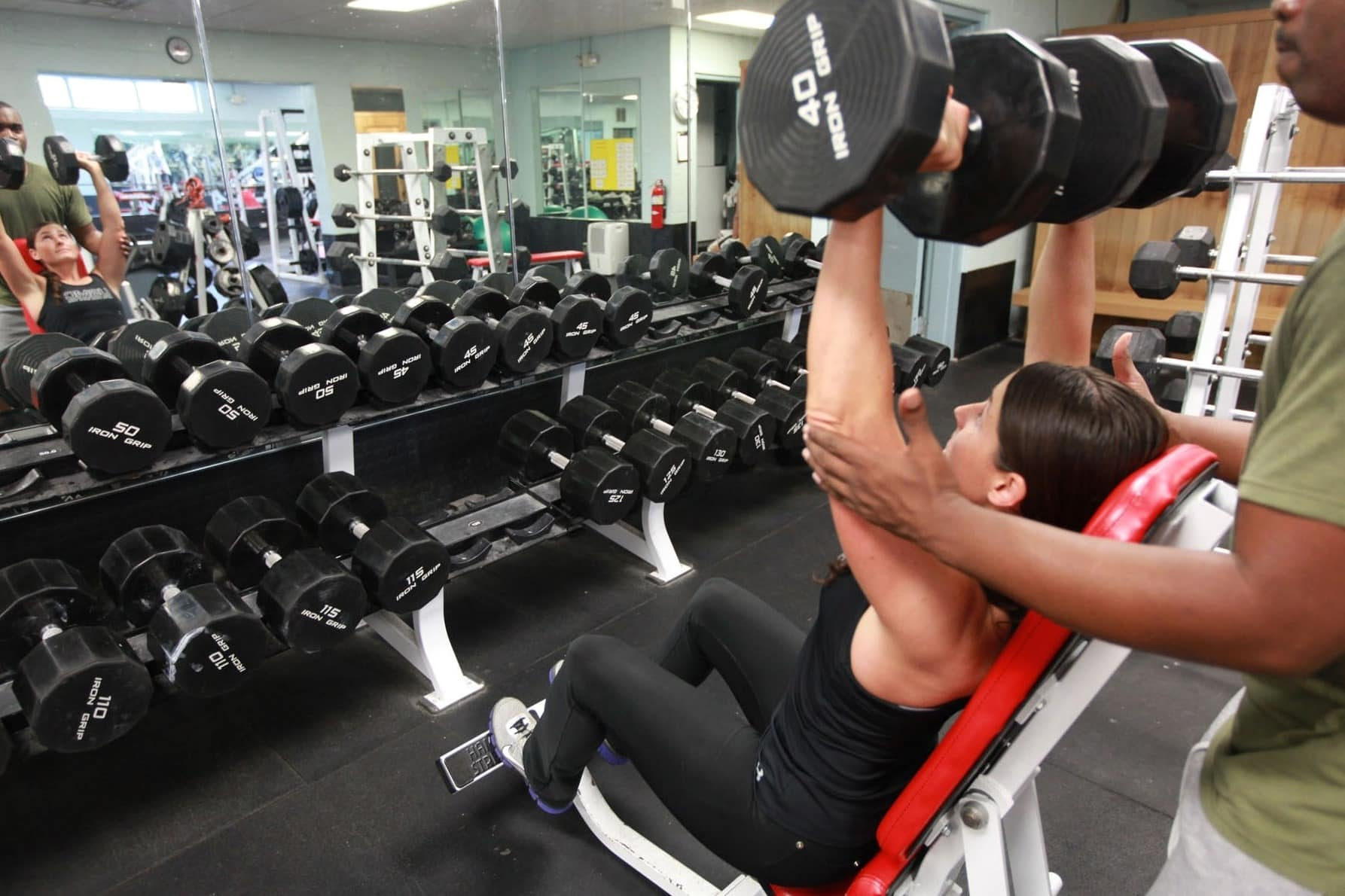 Free picture: exercise, gym, pretty girl, young woman, strength, dumbbell,  fitness, athlete