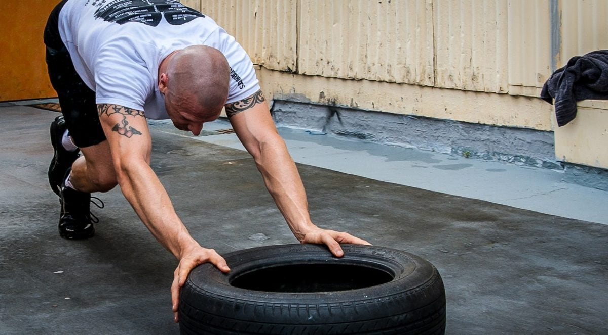 man, body, exercise, fitness, tattoo, tire, training, training program