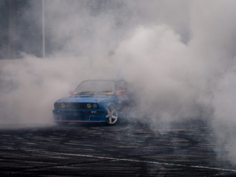 asphalt, car, sport, smoke, vehicle, amphibian, condensation, accident