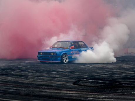 car, vehicle, smoke, condensation, eruption, fog, steam, landscape