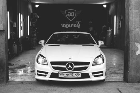 Garage, monochrome, Tuning, transport, automobile, véhicule, voiture, voiture