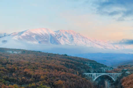 bridge, mountain peak, mountainside, mountain, landscape, sky, nature, snow