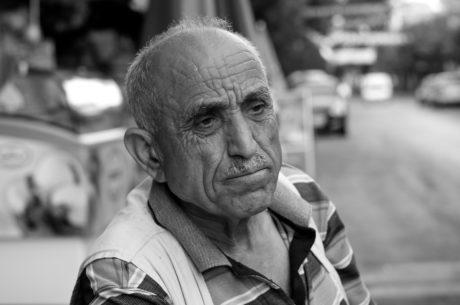 シニア, 男, 人, 人々, 縦方向, モノクロ, 通り, 高齢者