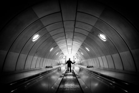 subway station, city, monochrome, passage, terminal, tunnel, perspective, dark