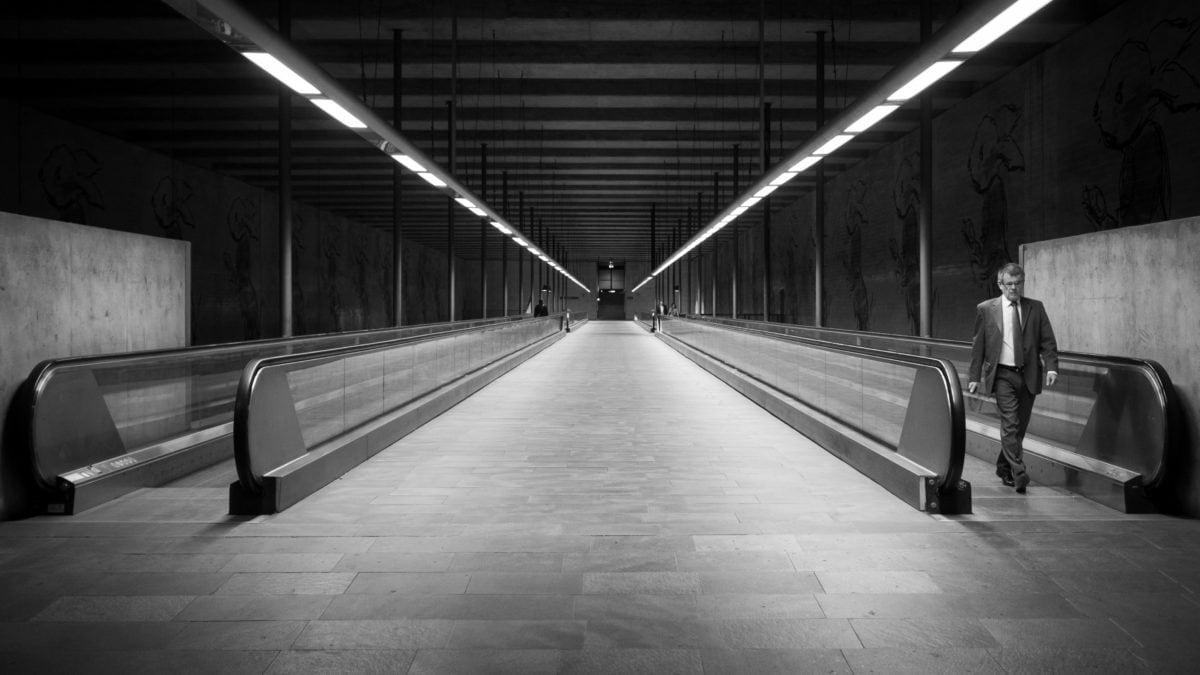 tunnel, monochrome, street, train, urban, dark, perspective, city