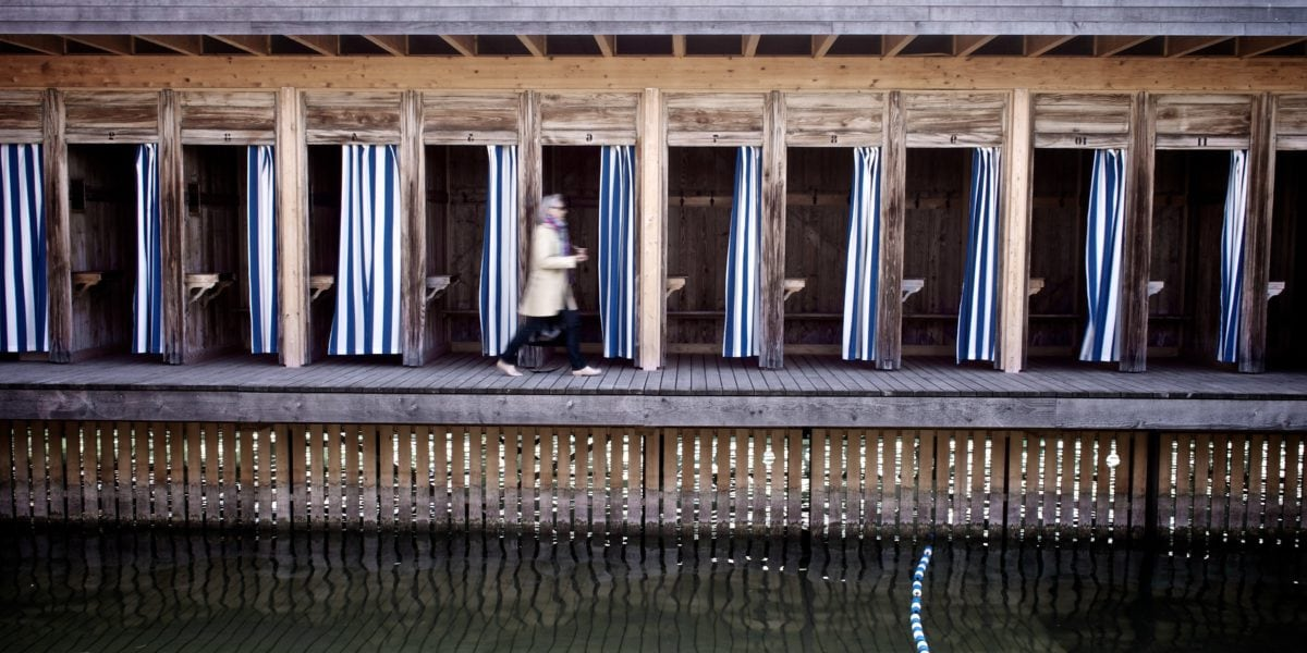 woman, building, architecture, bedrock, wood, water, old, reflection
