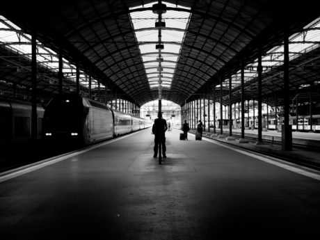 railway station, train, trains, airport, architecture, black, black and white, building