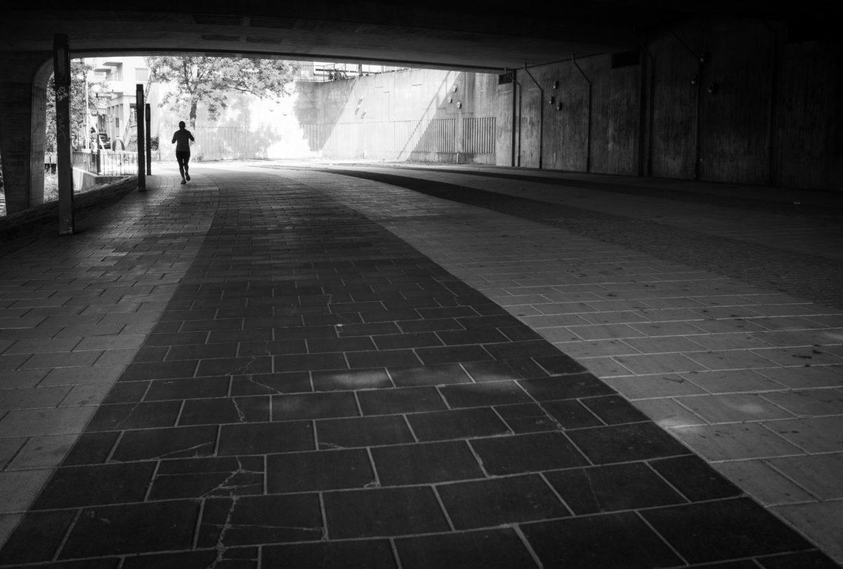 architektonický styl, architektura, budova, město, beton, tmavý, dům, černobílý tisk