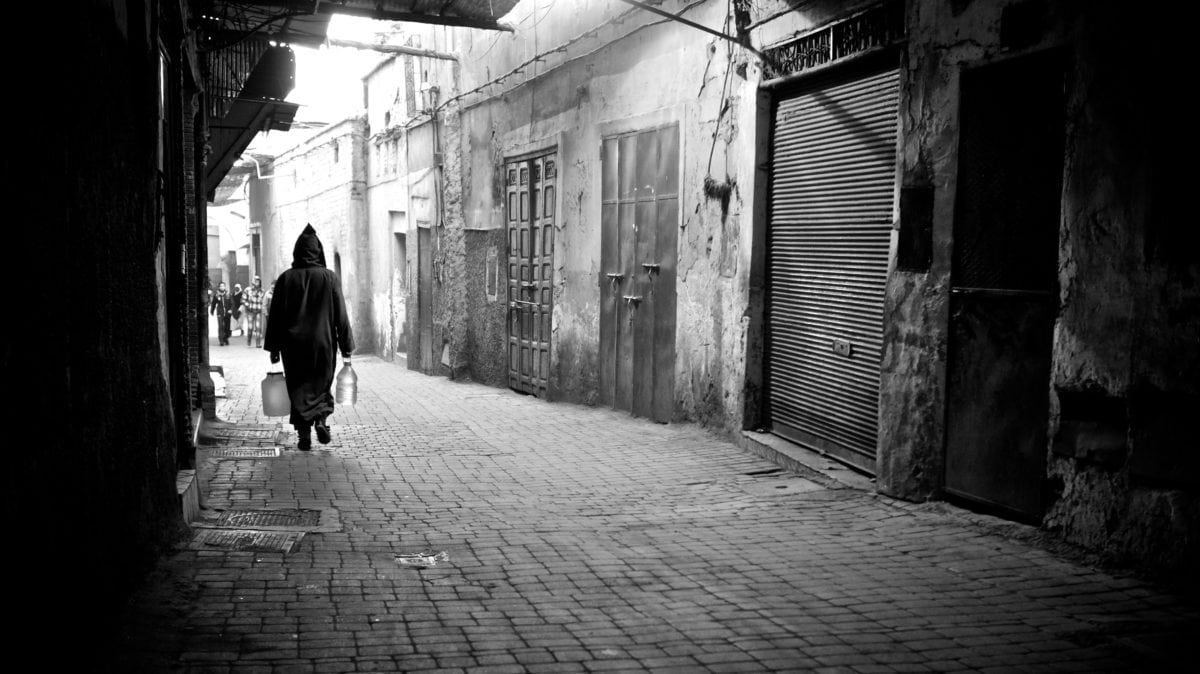 alley, monochrome, street, people, pavement, city, shadow, town