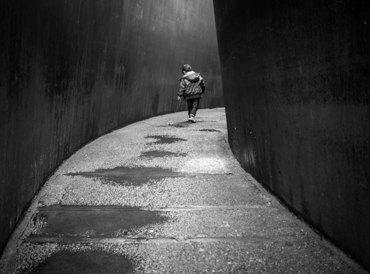 people, tunnel, street, road, monochrome, shadow, child, urban