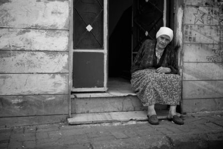 grandmother, people, street, child, woman, portrait, monochrome, doorway